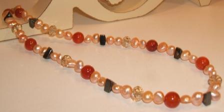Freshwater Pearl, Carnelian + Haematite Necklace