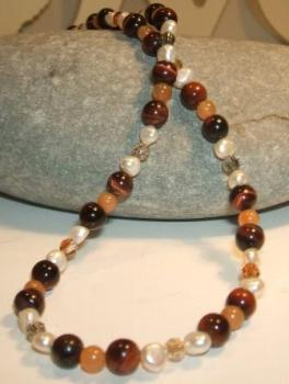 Golden Tigers Eye, Carnelian, Freshwater Pearl Necklace