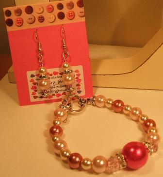 Pink glass pearl bracelet + earrings set