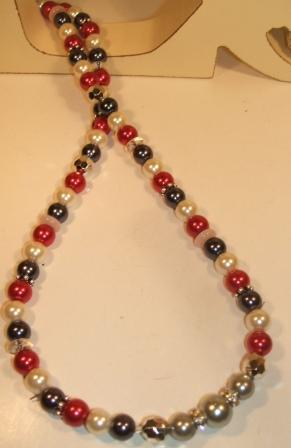 Red, blue + ivory glass pearl necklace set