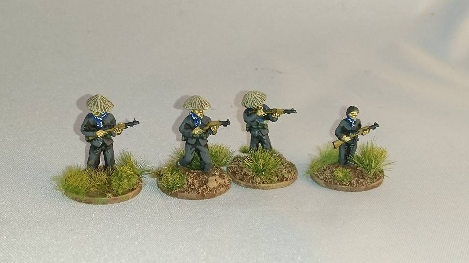 VC04 Viet Cong in straw hats with US M1 Carbines