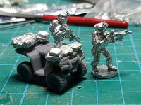 VCV07 ATV Quad with extra bars for kit and a mix of backpacks, gear etc.