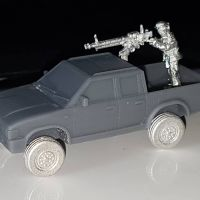 VCV09-INS Generic 4x4 Pickup truck double cab with road wheels and Insurgent Gunner