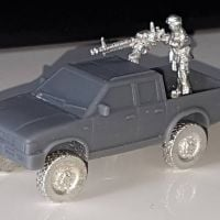 VCV10-INS Generic 4x4 Pickup truck double cab with road wheels and Insurgent Gunner