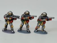 SL06 Star Legion Triarii shooting armed with Spatha rifles and DMR for ranged combat and support.