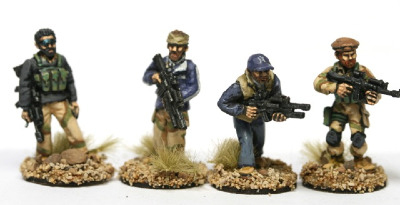 ODA07 US ODA SF (Green Berets) with soft hats riflemen in mixed gear