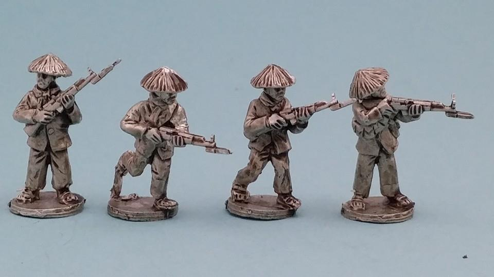 VC03 Viet Cong in straw hats with SKS rifles