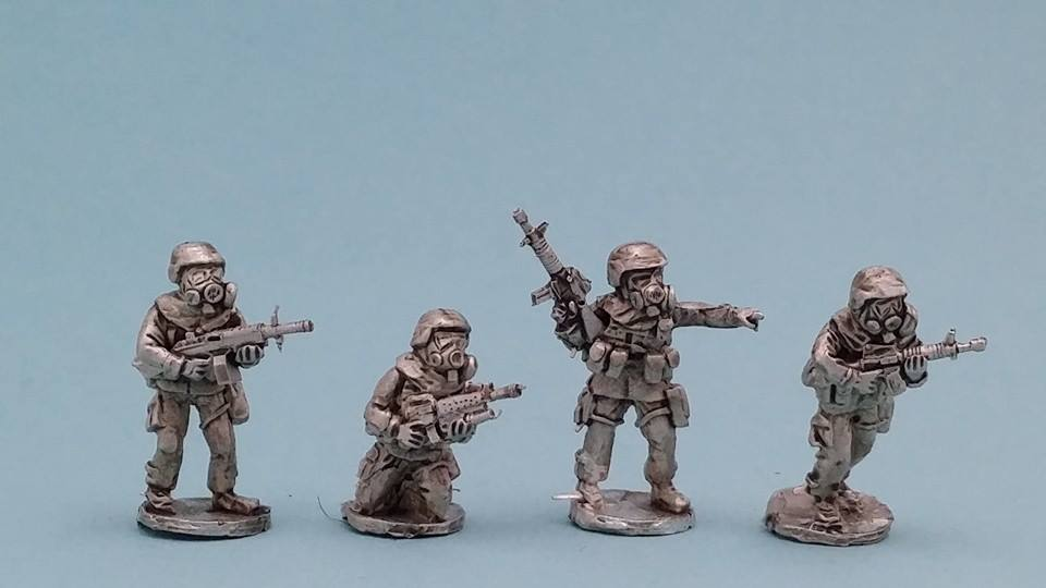 MOP09 US Infantry in MOPP suits with Gasmask with helmet fireteam
