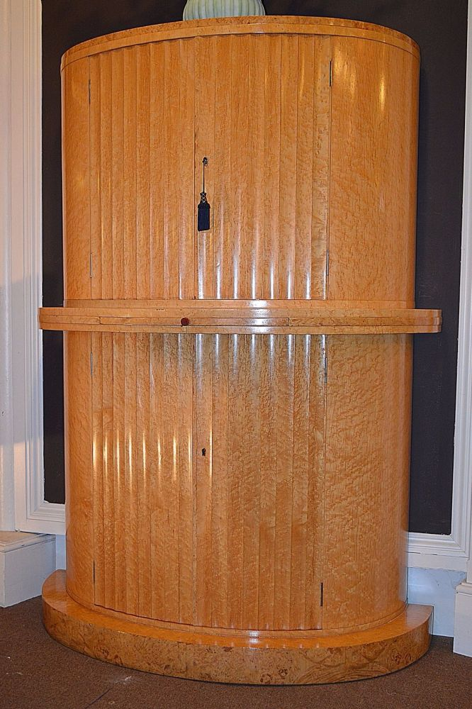 Exceptional art deco birds eye maple cocktail cabinet by h for Birds eye maple kitchen cabinets