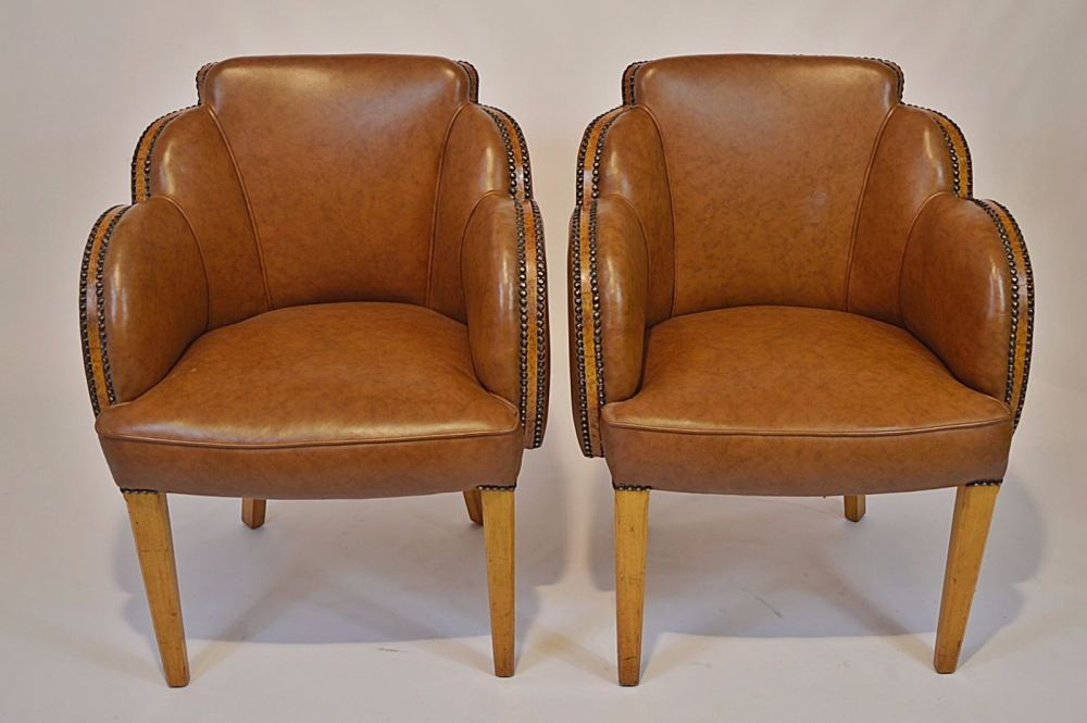 Fine pair of art deco chairs by h l epstein - Epstein art deco furniture ...
