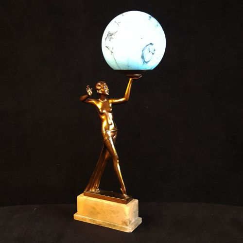 Fine art deco lady lamp in the manner of lorenzl publicscrutiny Image collections