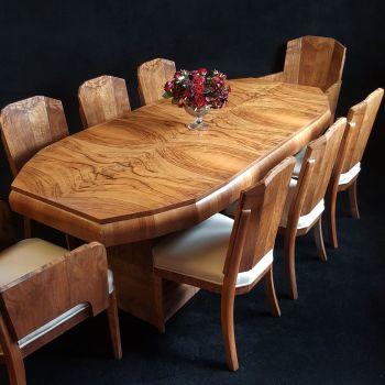 Fine Art Deco walnut dining suite
