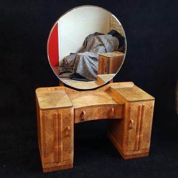 Good Art Deco burr walnut bedroom suite