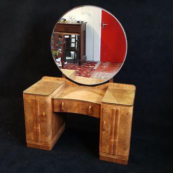 Good Art Deco blonde walnut bedroom suite