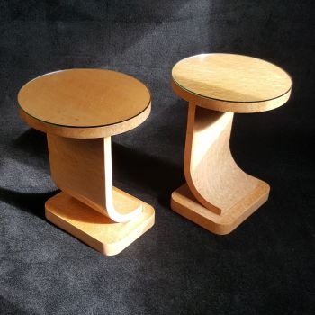 Stunning and rare pair of Art Deco side tables