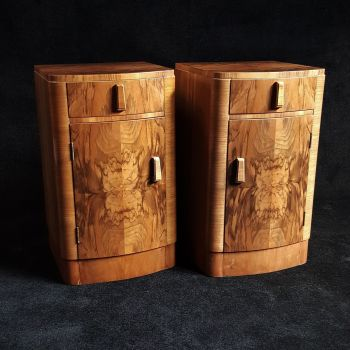 Good pair of Art Deco walnut bedside cabinets