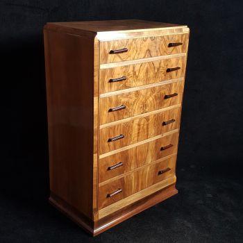 Fine Art Deco figured walnut chest of drawers