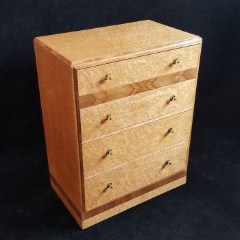 Art Deco birds eye maple & walnut chest of drawers