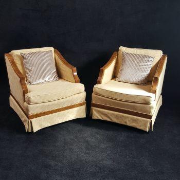 Good pair of Art Deco burr elm armchairs