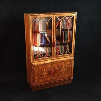 Art Deco burr walnut bookcase / cabinet