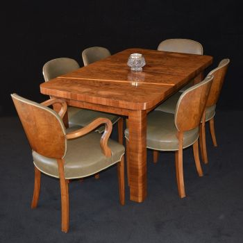 Art Deco figured walnut dining suite