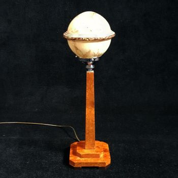 Art Deco burr maple table lamp