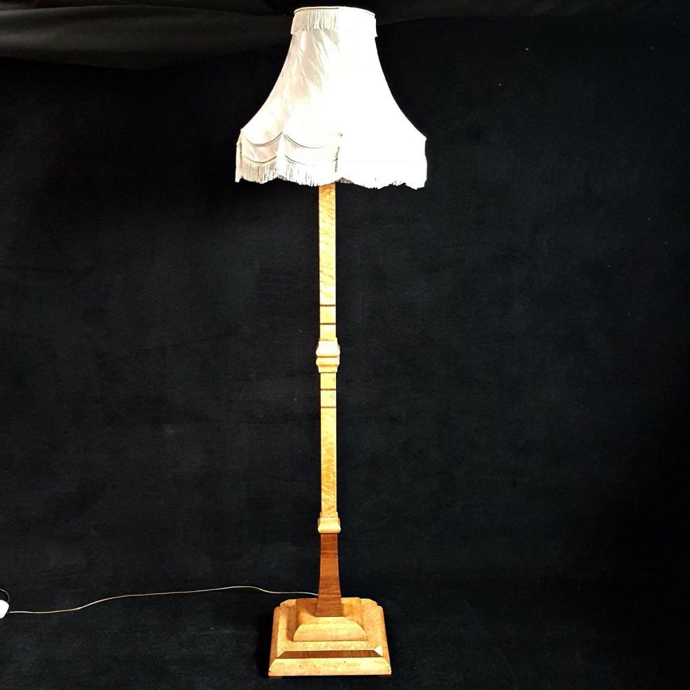 Superb Art Deco birds eye maple standard lamp