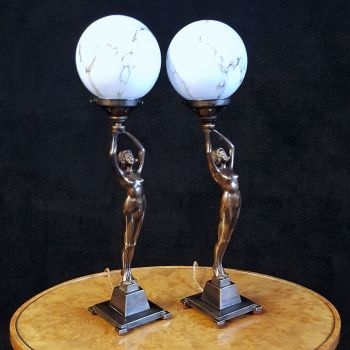 Fabulous pair of Banksway bronzed Art Deco lamps