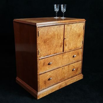 Art Deco walnut & burr walnut cabinet