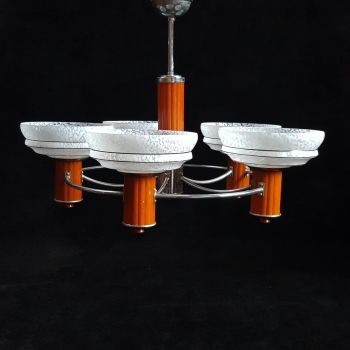 Superb Art Deco five arm ceiling light.