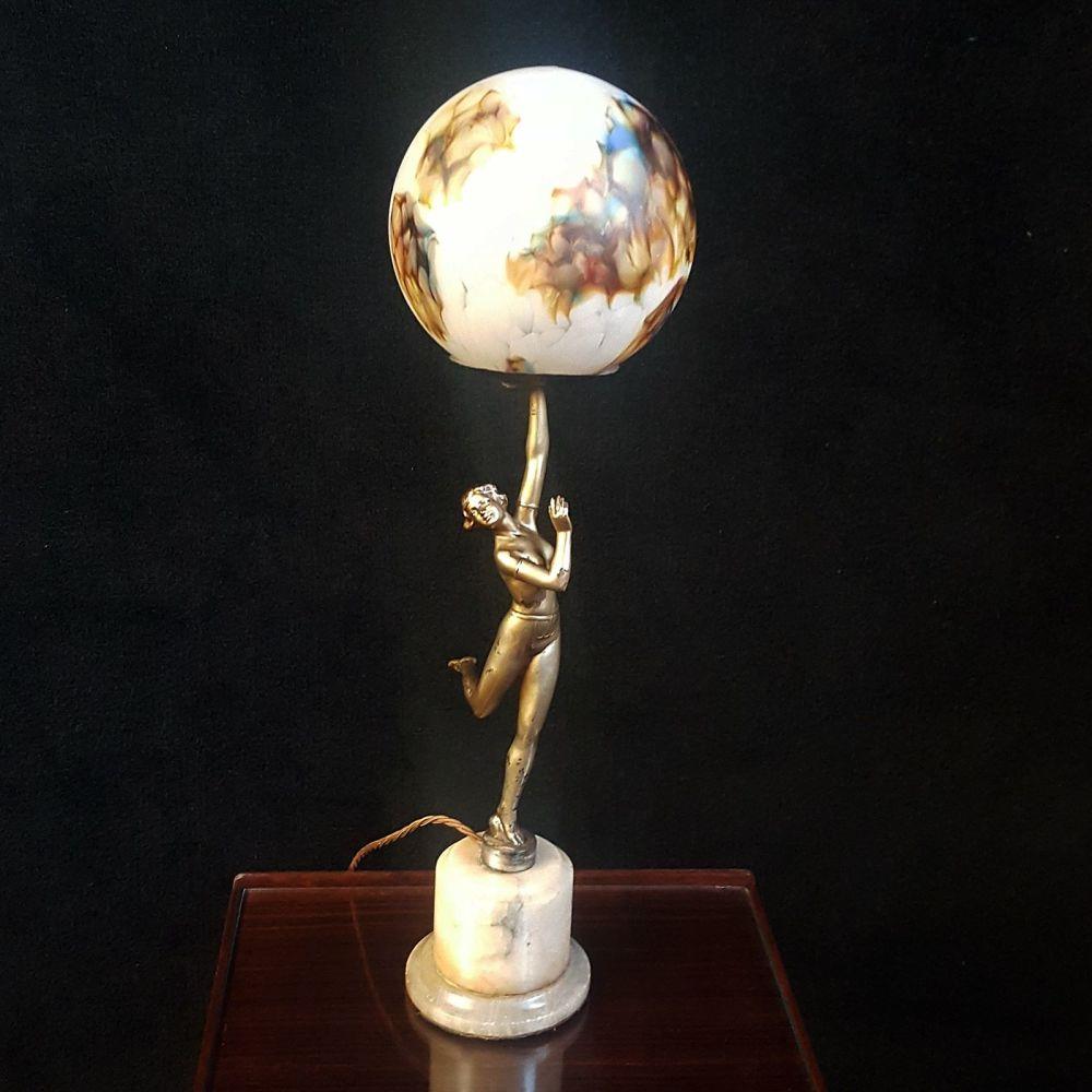 Art Deco spelter lady lamp