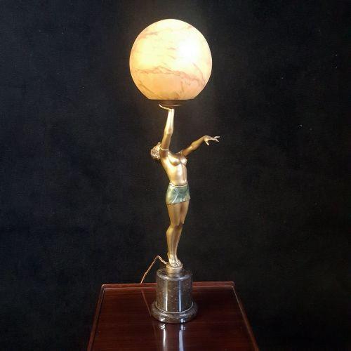 Superb Art Deco spelter lady lamp