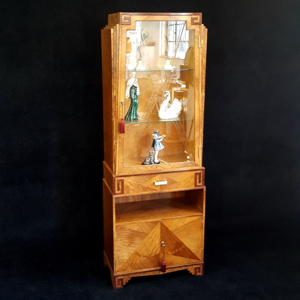 Fine Art Deco walnut display cabinet by Maurice Adams