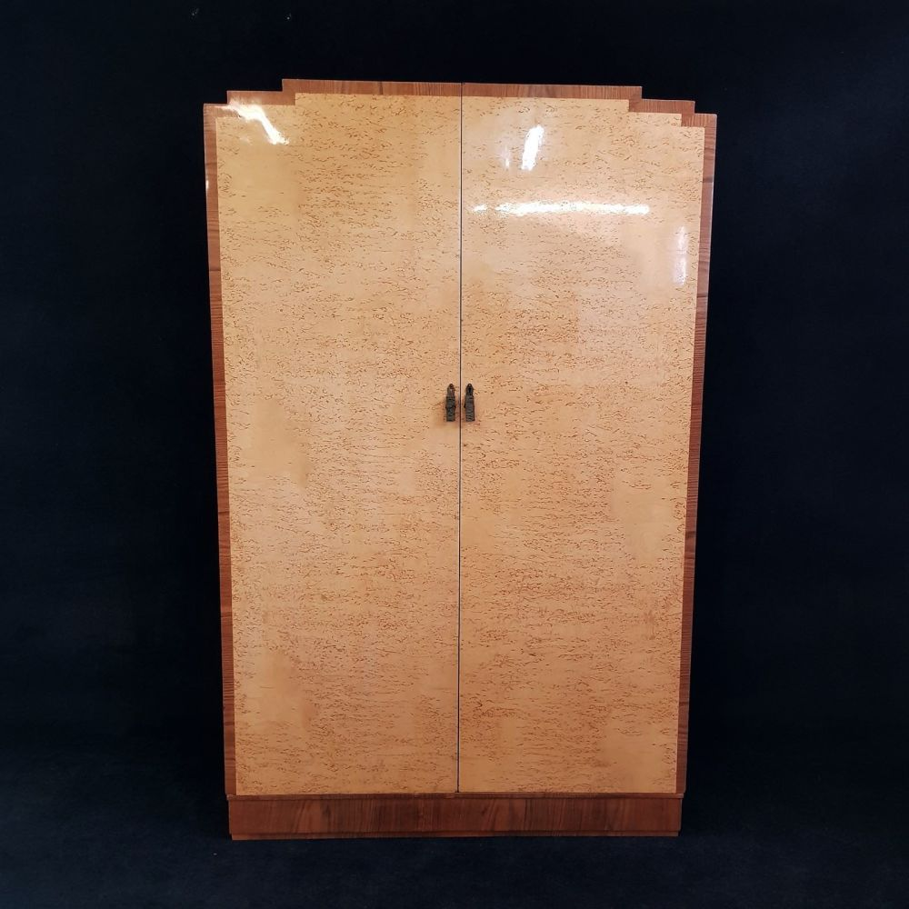 Fine burr maple and walnut banded wardrobe