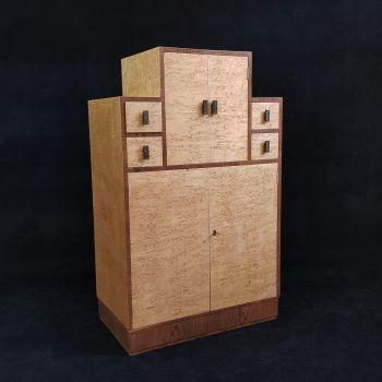 Fine Art Deco burr maple cabinet / tallboy