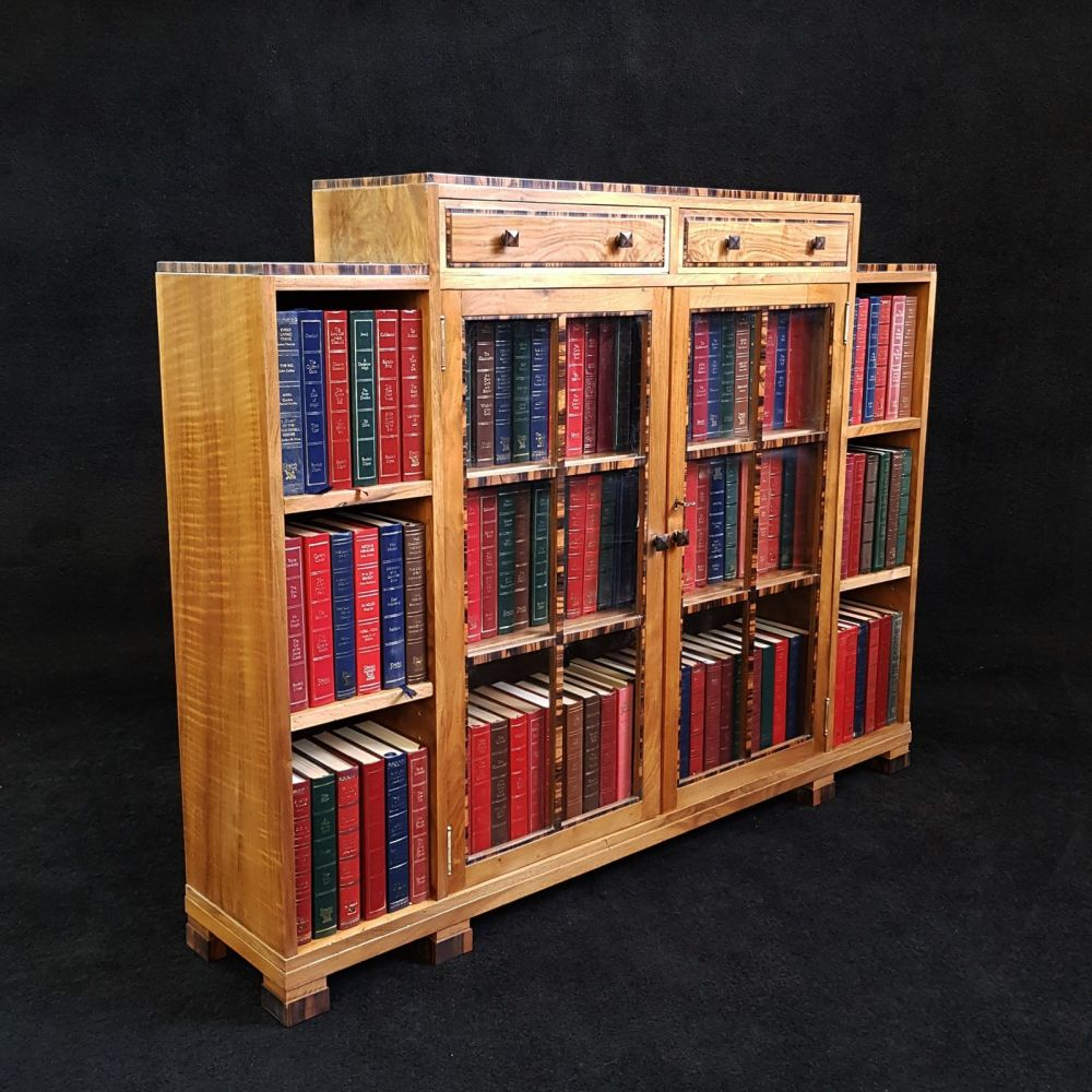 Good Art Deco walnut & macassar bookcase