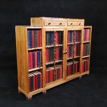 Good Art Deco walnut & macassar bookcase