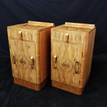 Art Deco walnut bedside cabinets
