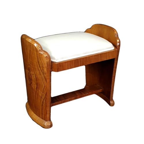 Art Deco walnut dressing stool