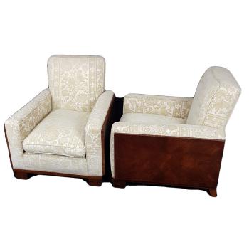 Good pair of Art Deco walnut chairs