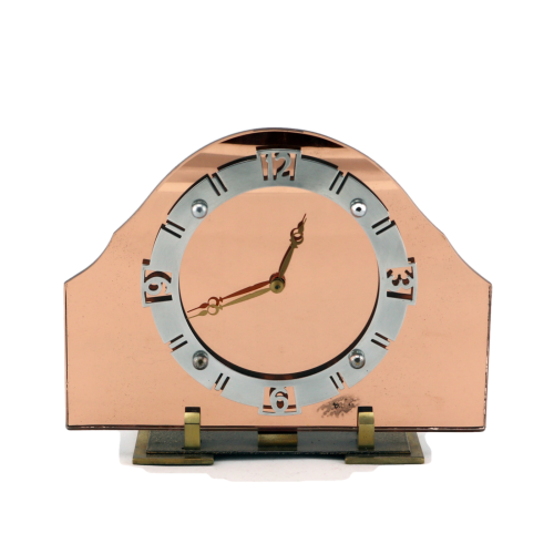 Art Deco peach glass clock.