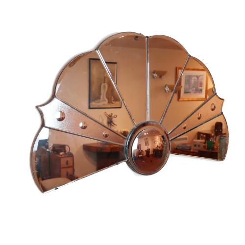 Art Deco fan shaped wall mirror.