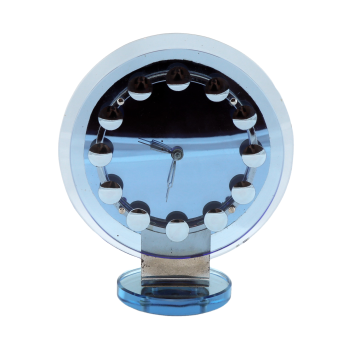 Stunning Art Deco blue mirrored glass mantle clock