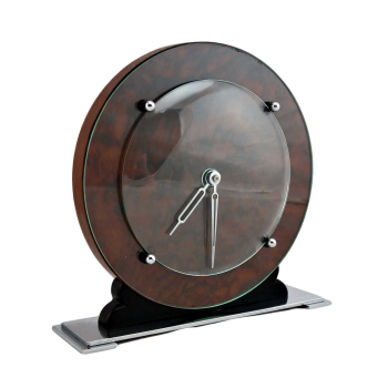 Stylish Art Deco walnut 8 day mantle clock