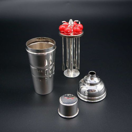 Mini Silver Plated Cocktail Shaker with Bakelite Cherry Picks by P H Vogel
