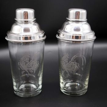 Pair of Art Deco cocktail shakers by James Dixon & Sons.