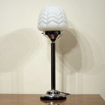 Good quality large Art Deco chrome table lamp.