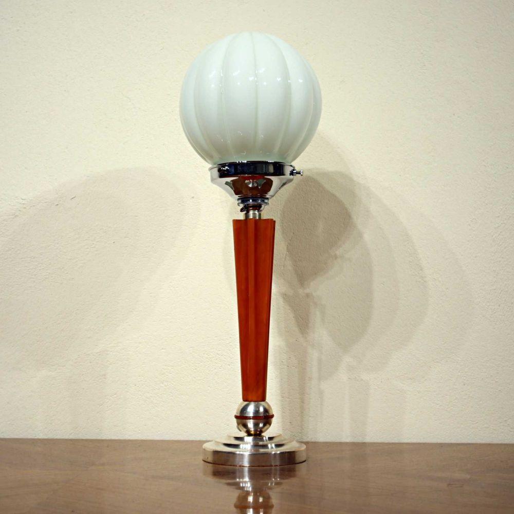 Art Deco polished metal and phenolic table lamp.
