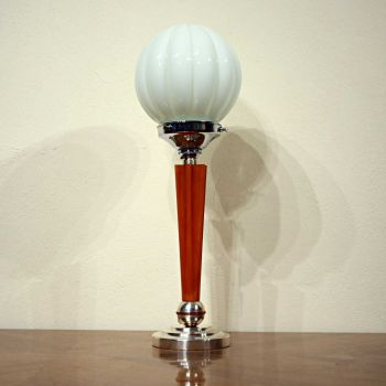 Art Deco polished metal and phenolic table lamp.