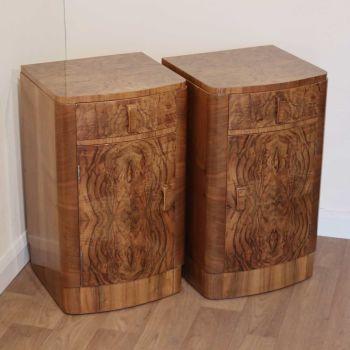 Pair of Art Deco figured walnut bedside cabinets